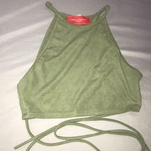 Green Crop Top with Lace Up Strings